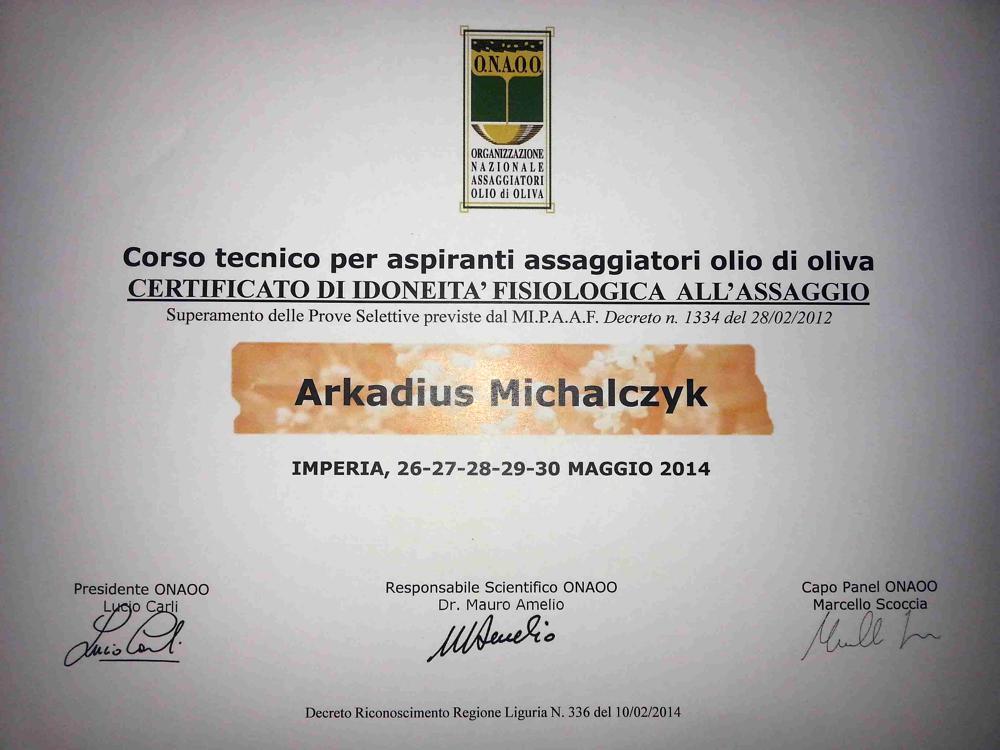 Olivenöl Sommelier Zertifikat von Arkadius Michalczyk