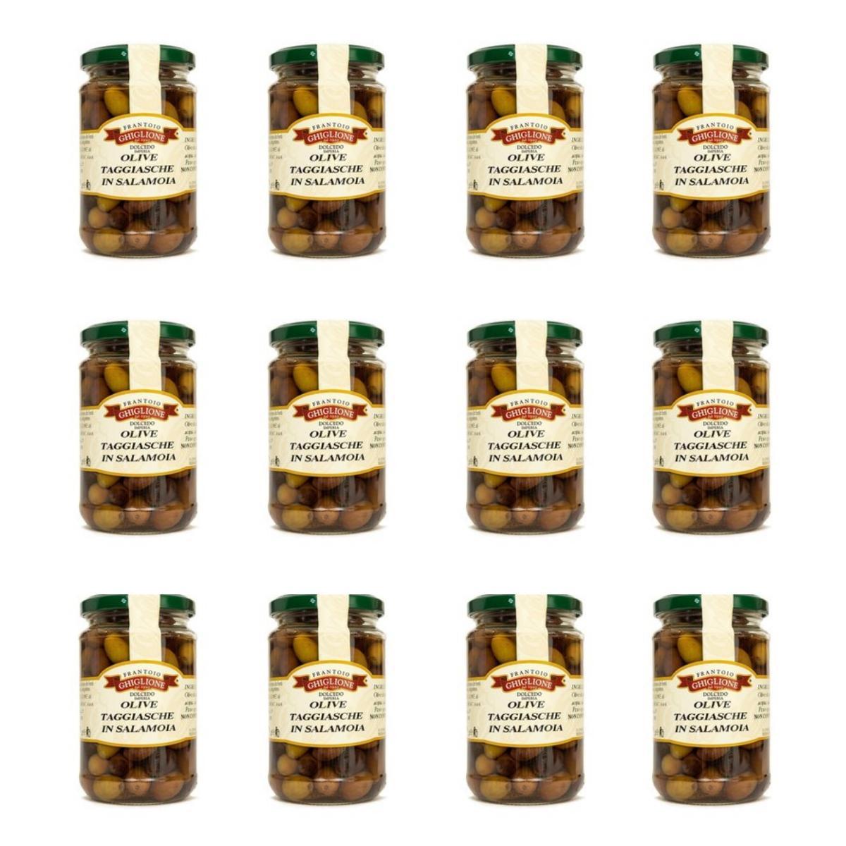 Taggiasca oliven in salzlake sparpaket 12 glaeser